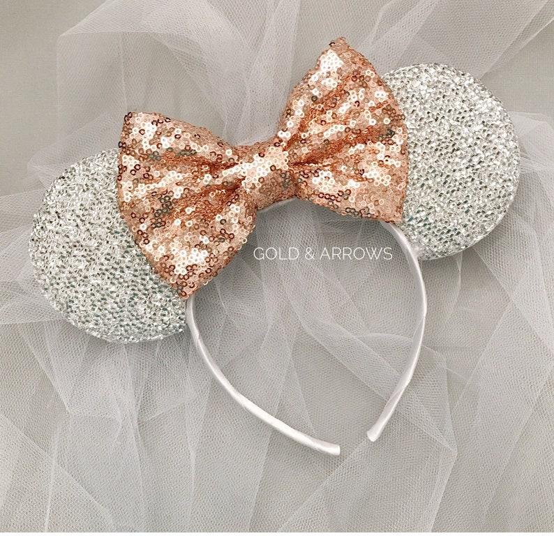 Bride Minnie Ears Headband Rose Gold Bride Minnie Mouse Ears  dcd6b7bf205