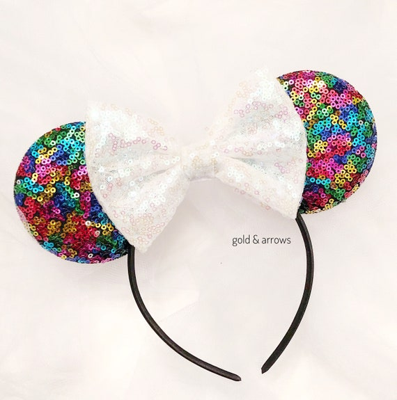 White Veil Bride Minnie Ears Wedding Ears Silver /& White Bachelorette Party Ears CLGIFT Bride Minnie Mouse Ears Headband Honeymoon Ears