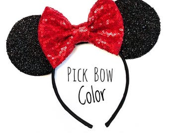 Disney ears, Minnie ears headband, Minnie Mouse ears, Mickey Mouse ears, Rose Gold Minnie ears, Disneyland ears, Custom Color Mouse ears