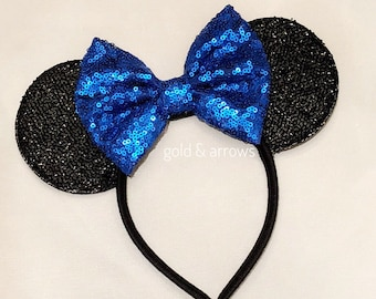 Blue Mickey Ears , Minnie Blue Ears. Sparkle Blue Mickey Ears Headband, Blue Sequin Ears, Sparkle Minnie Ears - Minnie Party