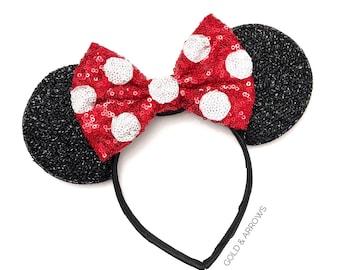 Polka Dot Minnie Ears - Polka Dot Mickey Ears - Minnie Polka Dot  Mickey Ears - Sparkly Mickey Ears Headband -  Sparkle Mouse Ears