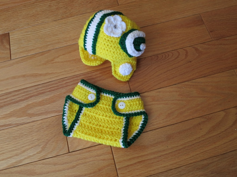 d4ac4f70af15 Crochet Green Bay Packers Football Newborn inspired colors