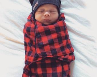 baby snuggler lumberjack cocoon wrap buffalo plaid newborn baby blanket cotton minky fabric self tightening closure
