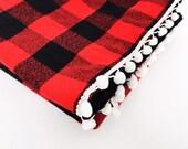 Baby lumberjack pom pom minky blanket flannel throw