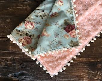 Tassels flowers vintage rosette minky baby blanket super soft 36 x 36