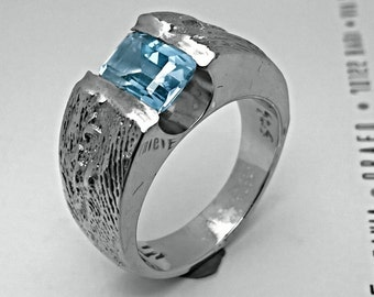 Blue silver ring