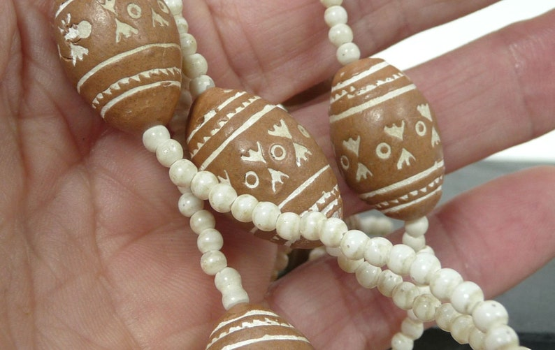 African Beaded Necklace  Mali Terracotta Clay and Shell Beads Tribal Necklace  Ethnic Vintage Jewelry