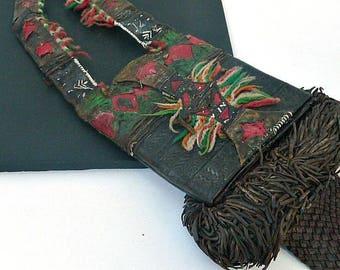 Vintage Tuareg Leather Bag / Authentic Old Tuareg Bag with Wallet / Tribal Vintage