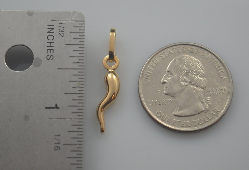 Solid Item Cornicello Italian Horn Pendant 16mm Hand made in 14k Rose Gold