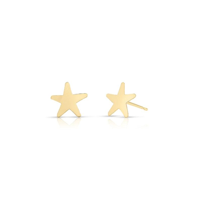 316508e40 14k SOLID Gold Tiny Star Stud Earrings Gold Stud Earrings | Etsy