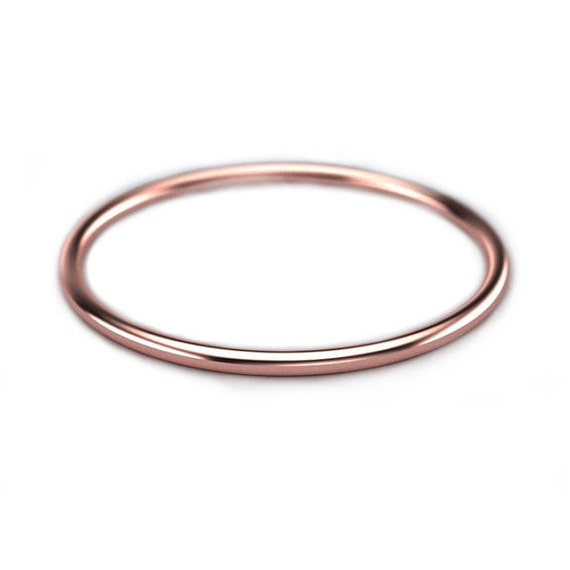 Wire Ring 1mm Band 14K SOLID gold Wedding Ring Minimal Jewelry Thin Wedding Band Dainty 1mm ring Minimalist Gift 1mm Rose Gold Band