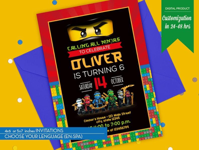 Invitacion Ninjago Cumpleanos Lego Ninjago Imprimible Etsy