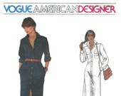 1980s Calvin Klein Vogue 2441 American Designer  Misses Shirt Dress Button Front Pockets Vintage Sewing Pattern Size 12 Bust 34