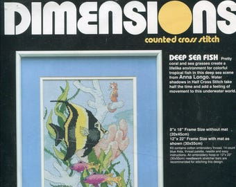 1990s Deep Sea Fish 8x18 Cross Stitch Kit by Anna LongoDimensions 3705