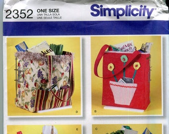 Simplicity 2352 Shopping Bags Tote Bags Sewing Pattern by Faith Van Zanten UNCUT