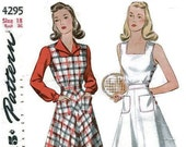 1940s Sun Dress Tennis Dress Pattern Simplicity 4295 Bust 36 Pattern WWII Jumper Blouse Square Neck Flare Skirt Patch Pockets
