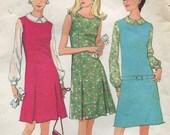 1960s Dress or Jumper Pattern McCalls 8770 Size 12 Bust 32 Dress Jumper Blouse Princess Seams Front Kick Pleats