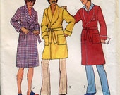 1970s Simplicity 7080 Mens Bathrobe Sewing Pattern Size SM 34 36 Monogram Transfer Pockets Self Tie UNCUT