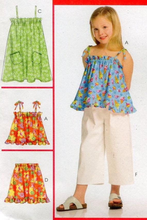 McCalls M40 Girls Sundress Top Skirt Shorts Sewing Pattern Etsy Interesting Sundress Sewing Pattern