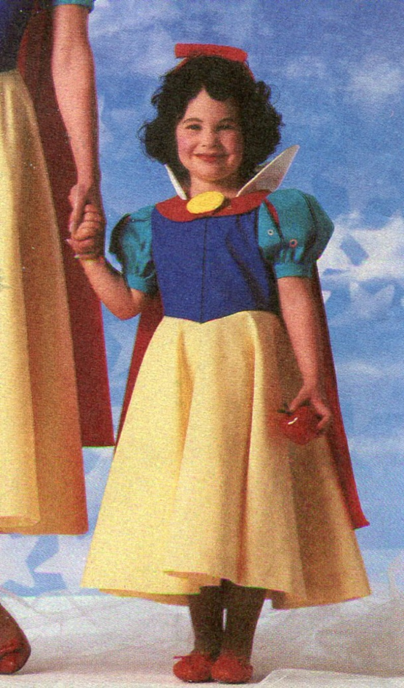 1980s Simplicity 7735 Girls Snow White Costume Sewing Pattern Size 10-12  UNCUT