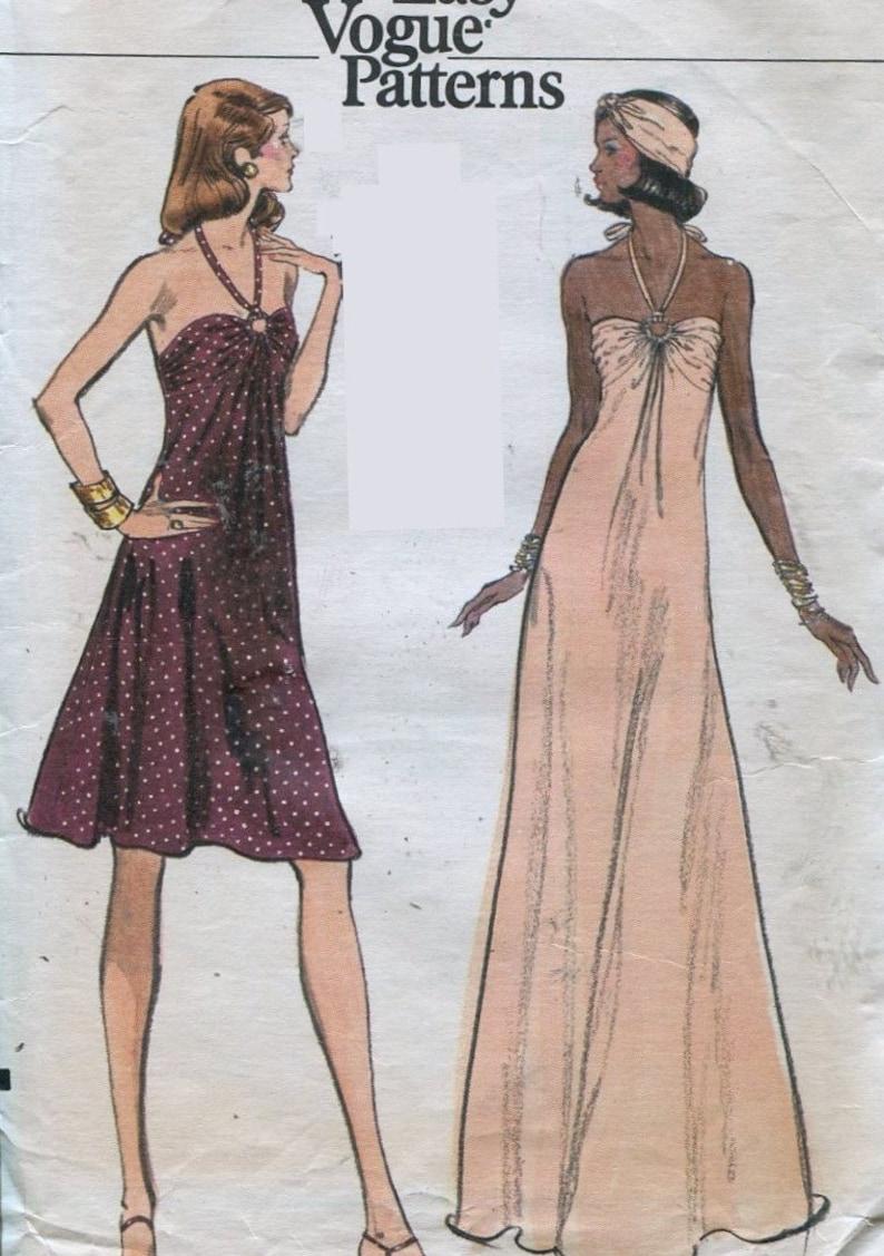 1970s  Vogue 8724 Misses Halter Evening Dress Sewing Pattern image 0