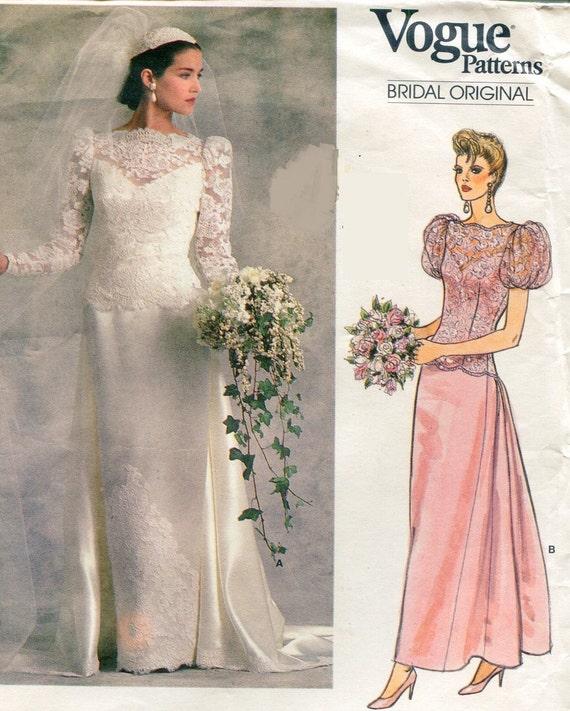1980s Vogue 1829 Bridal Original Wedding Dress Sewing Pattern | Etsy