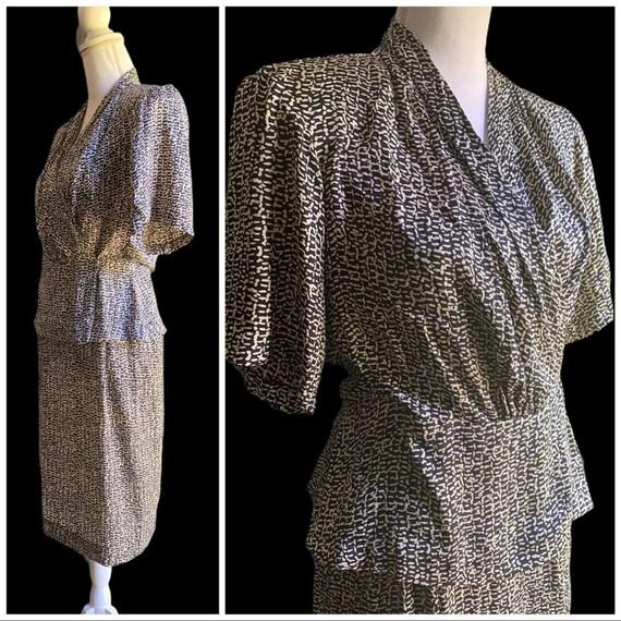 Vtg 40's style Silk Skirt Blouse Set Small