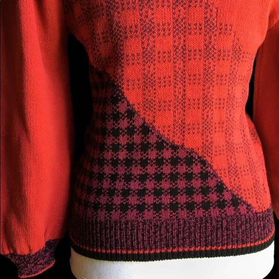 Vintage Red Floral Plaid Puff Sleeve Sweater - image 6