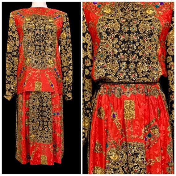 Vtg 90's Baroque Jewel Print Midi Skirt Set 4