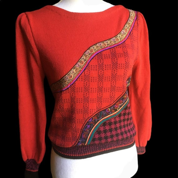 Vintage Red Floral Plaid Puff Sleeve Sweater - image 10