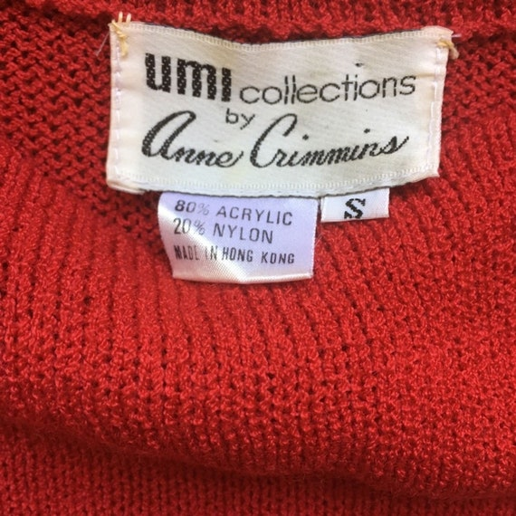 Vintage Red Floral Plaid Puff Sleeve Sweater - image 7