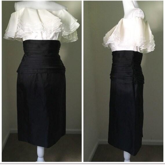 Vintage Tadashi Silk ruffle off-shoulder dress