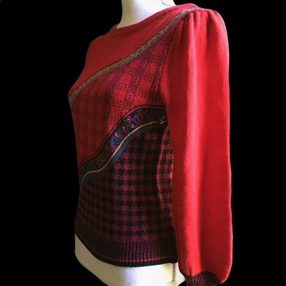 Vintage Red Floral Plaid Puff Sleeve Sweater - image 5