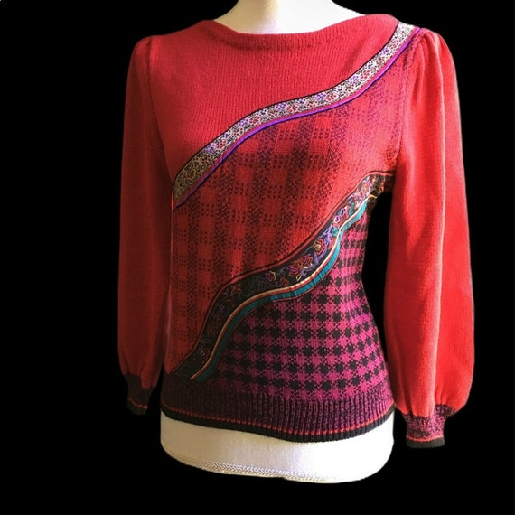 Vintage Red Floral Plaid Puff Sleeve Sweater - image 1