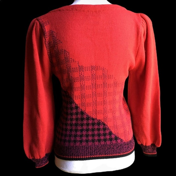 Vintage Red Floral Plaid Puff Sleeve Sweater - image 4