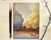 Small oil painting with drakkar at sunset in the sea Oil painting with traveling Viking ship in the North Sea Orange violet