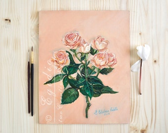 Pink roses oil painting Bouquet Gift for mothers day and anniversary Still life painting