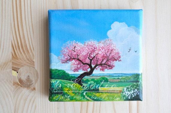 Mini dipinto ad olio con albero di ciliegio in fiore Dipinto | Etsy