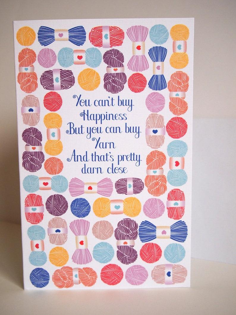Knitting happy birthday greeting card linen card stock 5X7 image 0