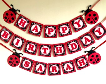 Ladybug Banner Birthday Party Baby Shower Garland 1st Decorations Bunting
