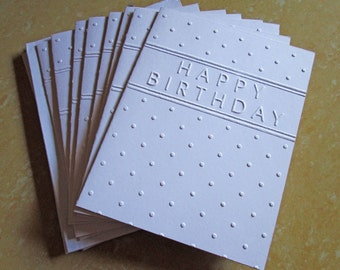 Happy Birthday Cards Set White Embossed Card Greeting Boxed