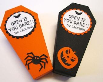 10 Halloween Treat Boxes, Halloween Coffin Box, Halloween Party Favor Boxes, Halloween Decor, Treat Bag