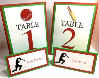4 Cricket Table Numbers, Cricket Table Cards, Cricket Birthday Decorations, Cricket Party Decorations