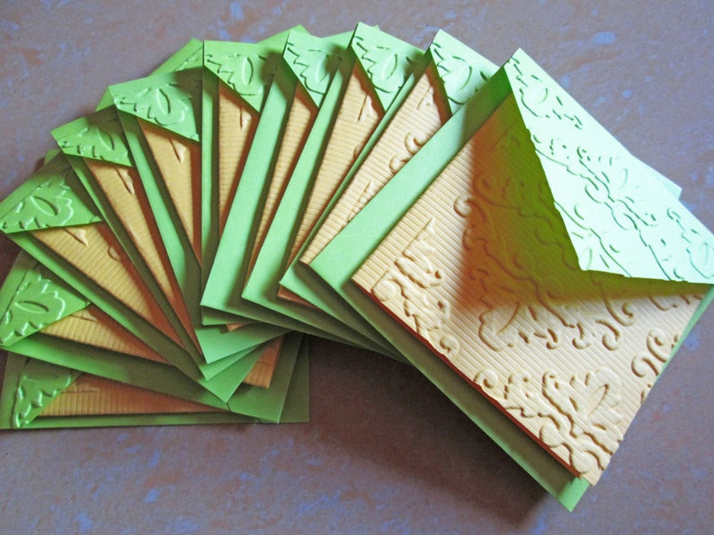 Blank Mini Embossed Card Set of 10  Nature Note Card Set Thank You Cards Stationery Card Set Mini Card Set Mini Cards Lunch Box Notes