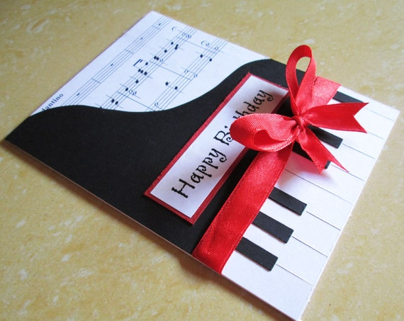 Piano Happy Birthday Card Music Themed Greeting