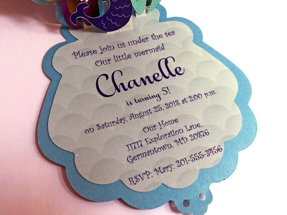 Mermaid Invitations Birthday Little Party Under The Sea Invite 1st 10