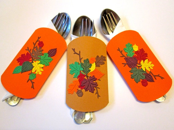 Thanksgiving Decor, Thanksgiving Cutlery Holders, Thanksgiving Table Decorations, Fall Decorations, Thanksgiving Table Setting, Set of 6