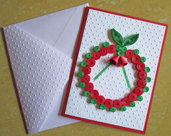 christmas card paper quilling embossed card quilled  etsy