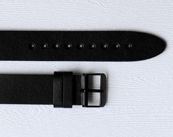 Black watch strap, Black Minimalist Design Handmade Italian Leather Premium Quality 20mm Watch Band - Black Strap / Black Buckle