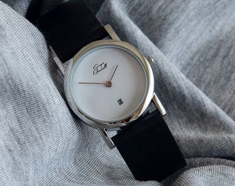 Birthday Gift, Womens Watch, Minimalist Ladies Watch, Leather Wrist Watch for Women, Womens Watch Silver, Lovely Gift, Gift for Her